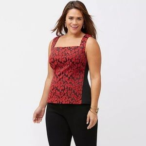 Lane Bryant Black and Red Floral Top Size 26